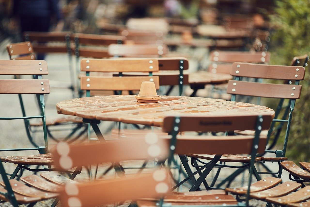 cafe, beer garden, table