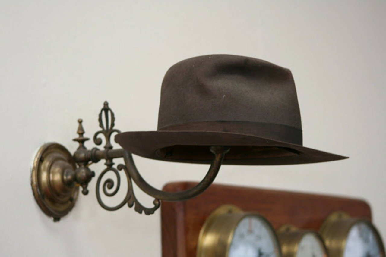 hat, trilby, coatrack