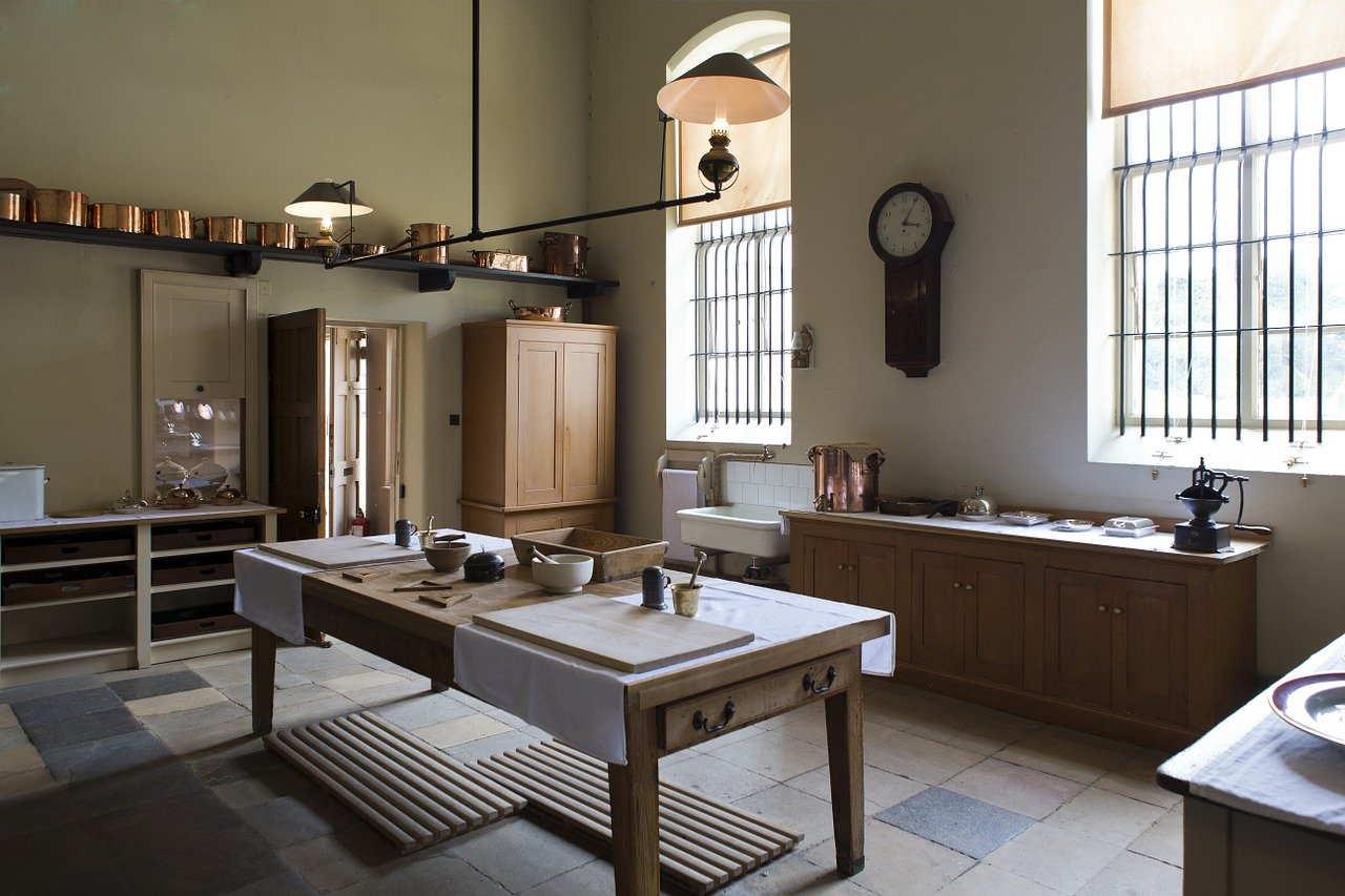 victorian kitchen, gas light, copper utensils